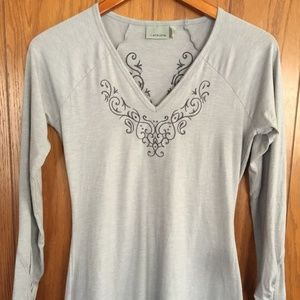 Athleta Ruched Long Sleeve V Neck Embroidered Top